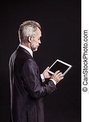 ベテラン, タブレット, バックグラウンド。, 黒, デジタル, ビジネスマン