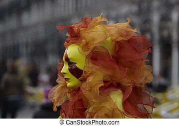ベニスカーニバル, 太陽, 中に, 炎, 仮面舞踏会