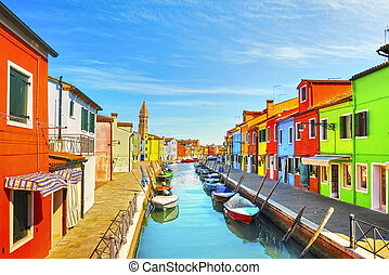 ベニス, カラフルである, 運河, 家, イタリア, 教会, ボート, ランドマーク, burano, 島