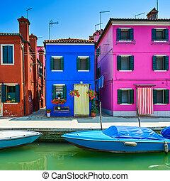 ベニス, ランドマーク, burano, 島, 運河, カラフルである, 家, そして, ボート,