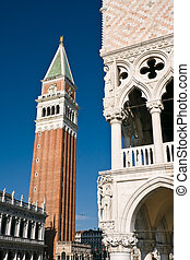 ベニス, 宮殿, 細部, 建築, campanile, doges