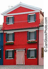 ベニス, burano, イタリア, 島, 家, 赤