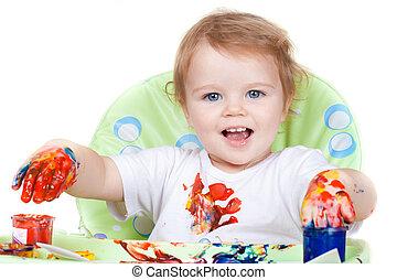 ベビーの子供, 作成する, 芸術, 映像, ∥で∥, ペンキ, ∥ように∥, 芸術家, (#3, から, series)