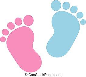 ベビー足跡状, ピンク, 青