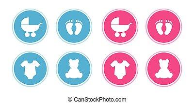 ベビー足跡状, フィート, 青, 熊, ピンク, アイコン, セット, bodysuit, stroller