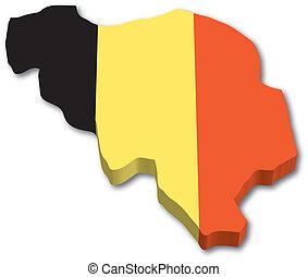 ベルギー, 地図, 3d, 旗