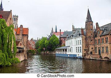 ベルギー, 家, 運河, bruges, 前方へ