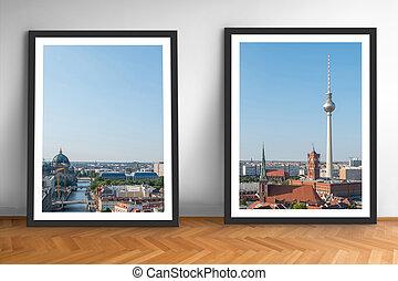 ベルリン, 背景, 壁, 木製である, 映像, 床, スカイライン, 2, 枠にはめられた, 白