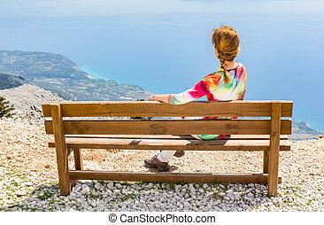 ベンチの上, 女, 山, モデル