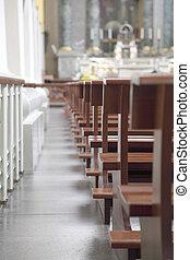 ベンチ, 中に, ∥, 教会