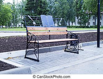 ベンチ, 中に, 町, 公園