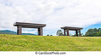 ベンチ, 公園の森林, 木製である