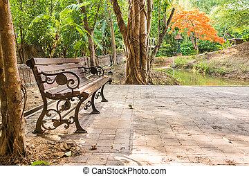 ベンチ, 公園, 秋