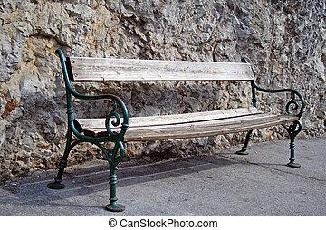 ベンチ, 古い, に対して, 岩