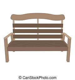 ベンチ, 木製である, ベクトル, 公園, 背景, イラスト, 光景, 庭, 隔離された