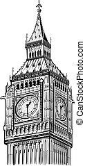 ベン, 大きい, シンボル, 細部, ベクトル, ロンドン, タワー
