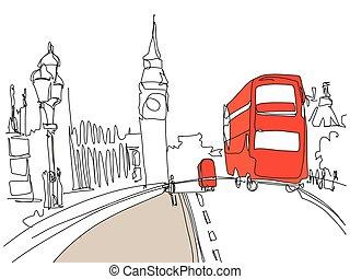 ベン, 大きい, 通り, ロンドン, バス, タワー, 図画, 赤