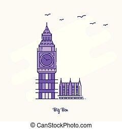 ベン, 点を打たれた, 紫色, 大きい, イラスト, スカイライン, ベクトル, ランドマーク, 線