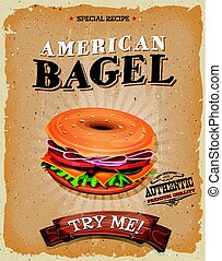 ベーグル, ポスター, アメリカ人, 軽食