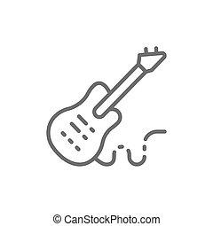 ベースギター, 機器音楽, 線, 電子, icon.