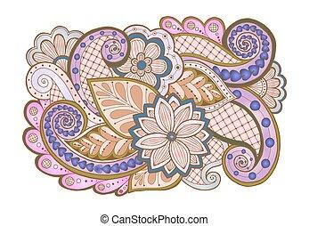 ペイズリー織, いたずら書き, ベクトル, 背景, 花, doodles