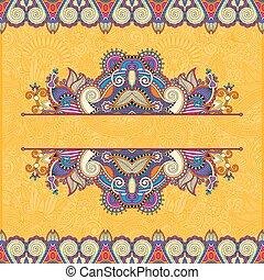 ペイズリー織, カード, 型, フレーム, 黄色, デザイン, 招待, 花