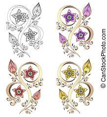 ペイズリー織, セット, henna, イラスト, ベクトル, mehndi, element.