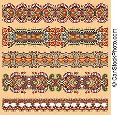 ペイズリー織, セット, seamless, パターン, ストライプ, 民族, 花のボーダー