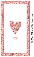 ペイズリー織, バレンタインカード, 縦