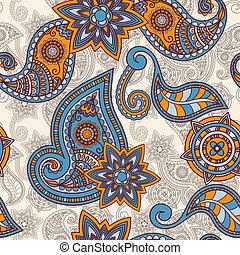 ペイズリー織, パターン, seamless, 手, ベクトル, 引かれる