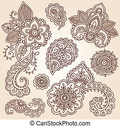 ペイズリー織, ベクトル, セット, henna, 花