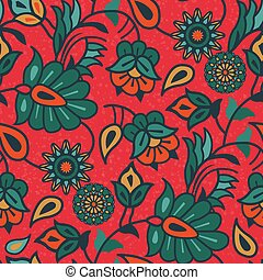 ペイズリー織, リンネル, indian, seamless, 花, pattern., 装飾, 国民, fabrics., 綿, 種族