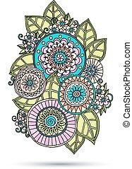ペイズリー織, 抽象的, henna, イラスト, ベクトル, デザイン, mehndi, 花, doodles, element.