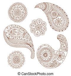ペイズリー織, henna, ベクトル, デザイン, mehndi, element.