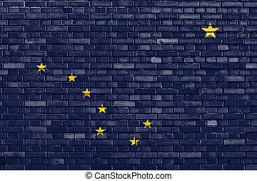 ペイントされた壁, れんが, アラスカの旗