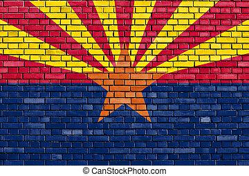 ペイントされた壁, れんが, アリゾナの旗