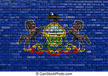 ペイントされた壁, れんが, ペンシルバニアの旗