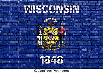 ペイントされた壁, ウィスコンシン, れんが, 旗