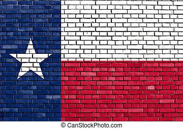 ペイントされた壁, テキサス, れんが, 旗