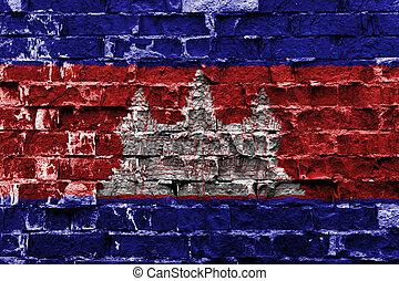 ペイントされた壁, 旗, れんが, カンボジア