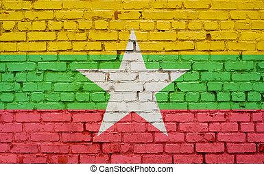 ペイントされた壁, 旗, れんが, ミャンマー