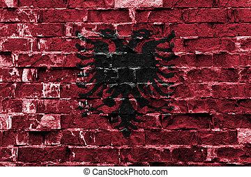 ペイントされた壁, 旗, アルバニア, れんが