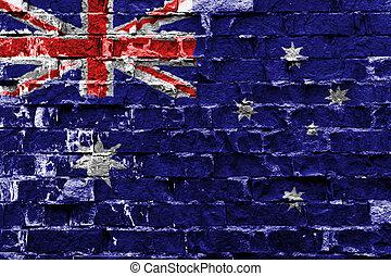 ペイントされた壁, 旗, オーストラリア, れんが