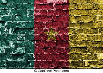 ペイントされた壁, 旗, カメルーン, れんが