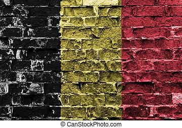 ペイントされた壁, 旗, ベルギー, れんが