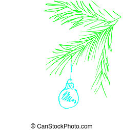 ペイントされた, おもちゃ, そして, クリスマスツリー, branch.vector, イラスト