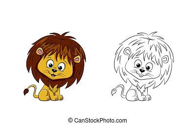 ペイントされた, かわいい, ライオン, 輪郭, イラスト