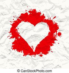 ペイントされた, しわくちゃになった, heart., paper., 赤