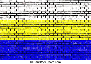ペイントされた, れんが, 旗, 壁, bakar
