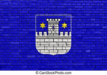 ペイントされた, れんが, 旗, 壁, cakovec